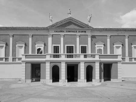 CAGLIARI, ITALY - CIRCA SEPTEMBER 2017: Galleria Comunale d Arte (meaning Municipal Art Gallery) in black and white Editorial
