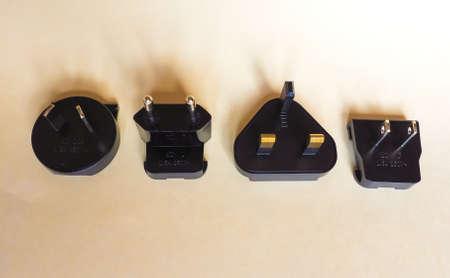 LONDON, UK - CIRCA MAY 2018: Australian (type I), European (type C), British (type G) and American (type A) electrical plugs