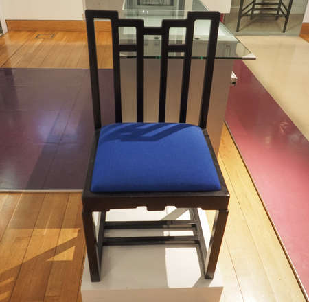 GLASGOW, UK - CIRCA JUNE 2018: Chair designed by Charles Rennie Mackintosh at the Lighthouse Scotland Centre for Design and Architecture