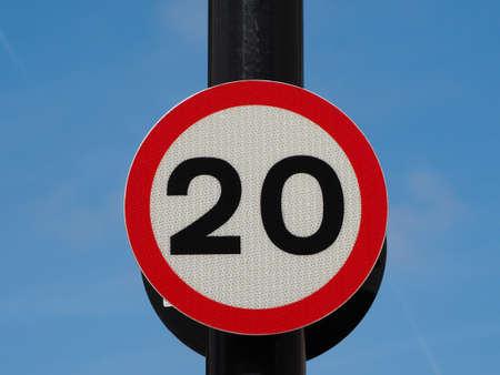 Regulatory signs, maximum speed limit traffic sign Stock Photo - 104698037