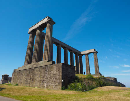 The Scottish National Monument on Calton Hill in Edinburgh, UK