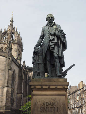 Statue of Scottish economist philosopher and writer Adam Smith on the Royal Mile in Edinburgh, UK