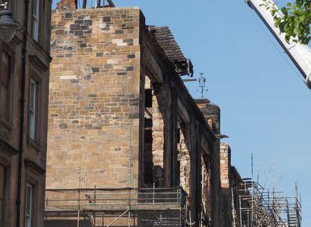 Ruins of the Glasgow School of Art designed by Charles Rennie Mackintosh in 1896, after June 2018 fire in Glasgow, UK