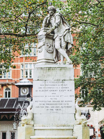 Statue of William Shakespeare (year 1874) in Leicester square London UK
