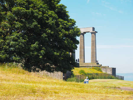 Calton Hill and its monuments in Edinburgh, UK