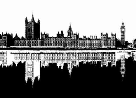 Black and white line art illustration of the Houses of Parliament aka Westminster Palace in London, UK