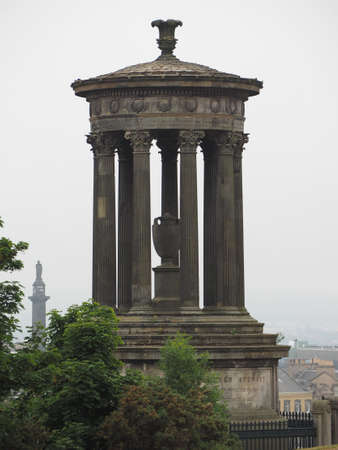 The Dugald Steward monument on Calton Hill in Edinburgh, UK