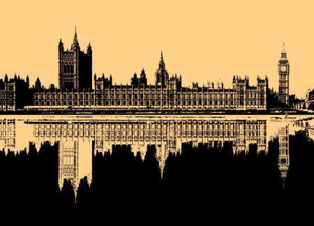 Monochrome line art illustration of the Houses of Parliament aka Westminster Palace in London, UK