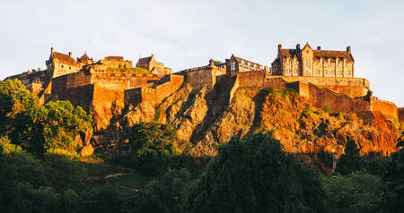 High resolution large panoramic view of Edinburgh castle at sunset in Edinburgh, UK Editorial