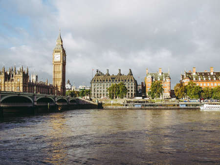 Westminster Bridge panorama with the Houses of Parliament and Big Ben in London UK Stock Photo