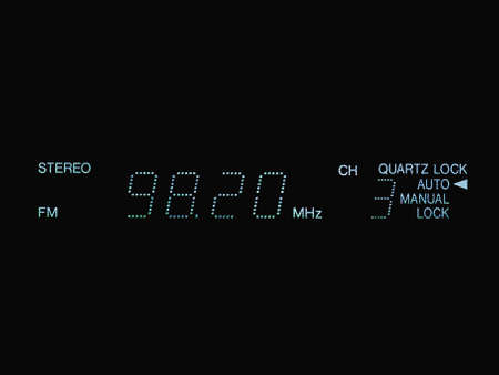 stereo FM radio tuner lcd display showing frequency of tuned radio station channel
