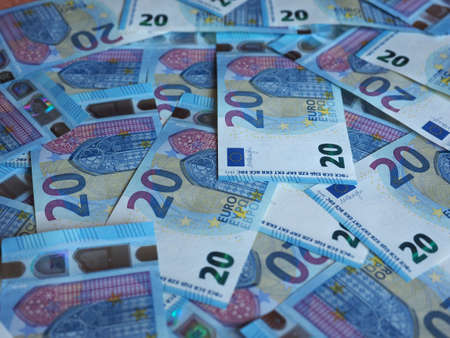 Euro banknotes money (EUR), currency of European Union