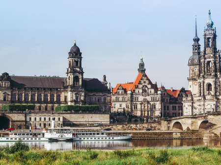 DRESDEN, GERMANY - JUNE 11, 2014: Elbe River in Dresden in Saxony Germany Editorial