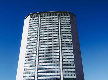 MILAN, ITALY - CIRCA JANUARY 2017: Pirelli Tower skyscraper (aka Pirellone) designed by Gio Ponti and Pier Luigi Nervi in the fifties