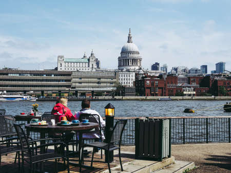 LONDON, UK - CIRCA JUNE 2018: Panoramic view of River Thames from the South Bank