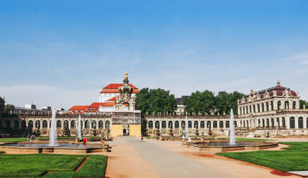 DRESDEN, GERMANY - JUNE 11, 2014: Dresdner Zwinger palace designed by Poeppelmann in 1710 as orangery and exhibition gallery completed by Gottfried Semper with the addition of Semper Gallery in 1847 Editorial