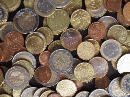 Euro coins money (EUR), currency of European Union useful as a background 版權商用圖片