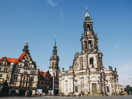 DRESDEN, GERMANY - JUNE 11, 2014: Dresden Cathedral of the Holy Trinity aka Hofkirche Kathedrale Sanctissimae Trinitatis Editorial