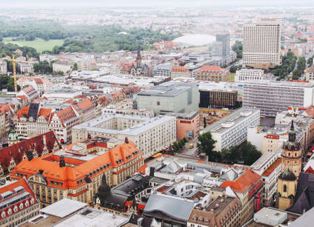 LEIPZIG, GERMANY - JUNE 14, 2014: Aerial view of the city Editorial