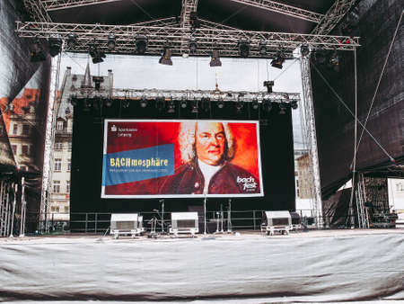 LEIPZIG, GERMANY - JUNE 14, 2014: Stage at Bachfest annual summer music festival celebrating baroque musician Johann Sebastian Bach in his town