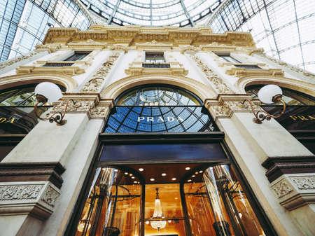 MILAN, ITALY - CIRCA JANUARY 2017: Prada store in Galleria Vittorio Emanuele II shopping arcade Editorial