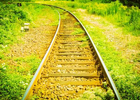 Detail of Railway railroad tracks for trains vintage retro