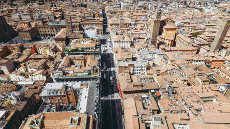 Aerial view of Via dell Indipendenza street in the city of Bologna, Italy 写真素材