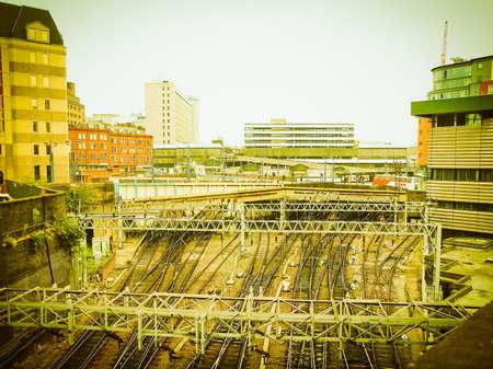 Railway or railroad tracks at Birmingham train station vintage retro