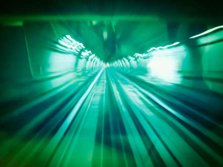 In the subway, motion blur useful as a background vintage retro Banco de Imagens