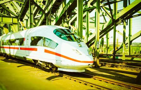 Detail of an high speed train vintage retro