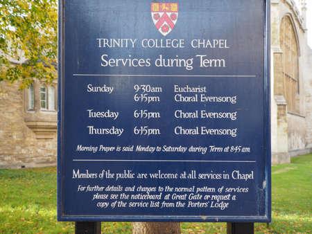 CAMBRIDGE, UK - CIRCA OCTOBER 2018: Trinity College chapel sign