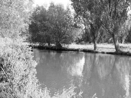 view of River Cam in Cambridge, UK in black and white