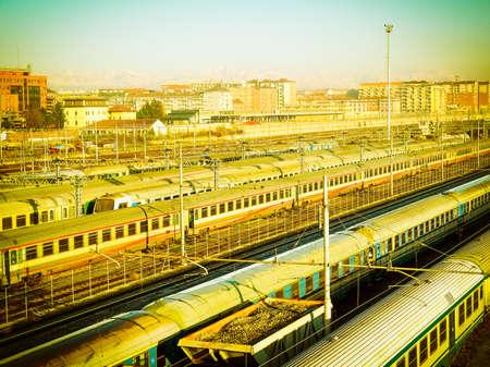 Railway or railroad tracks for train transportation vintage retro Archivio Fotografico