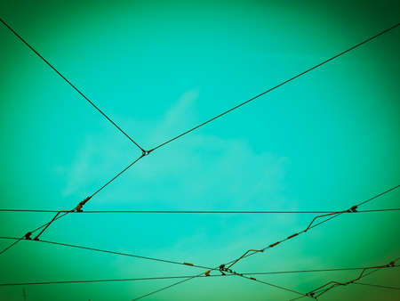 Overhead line for tram over the sky vintage retro Stock Photo