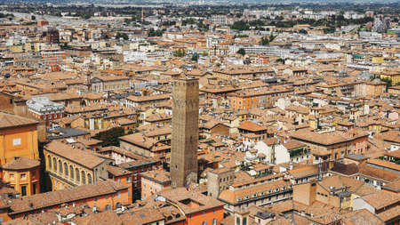 Aerial view of the Torre Prendiparte tower in the city of Bologna, Italy 스톡 콘텐츠