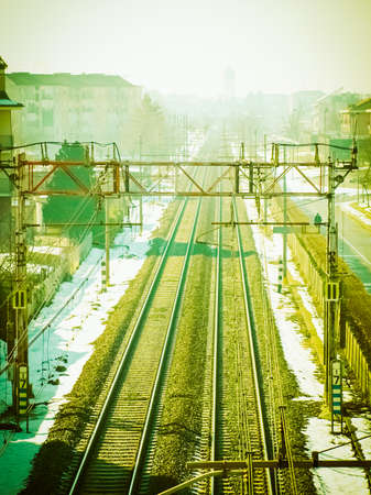 Railway or rail road track perspective from above vintage retro Stock Photo