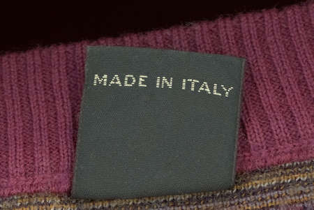 Made in Italy label on a woolen jumper jersey sweater garment