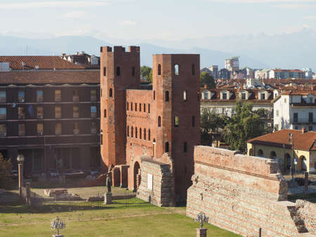Porta Palatina (Palatine Gate) ruins in Turin, Italy