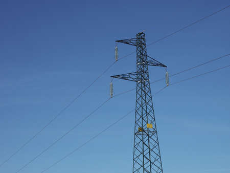 an electric power high voltage transmission line tower Stockfoto - 114586430