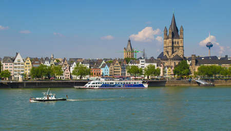 KOLN, GERMANY - CIRCA AUGUST 2009: View of the city skyline from river Rhine