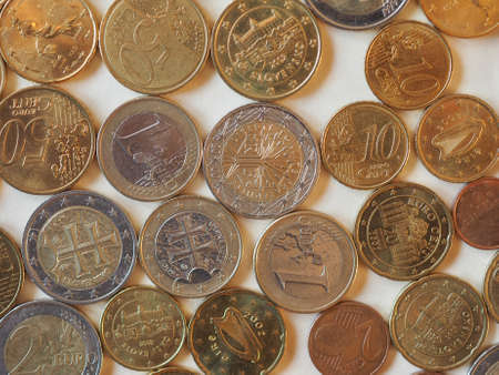 Euro coins money (EUR), currency of European Union useful as a background Banque d'images