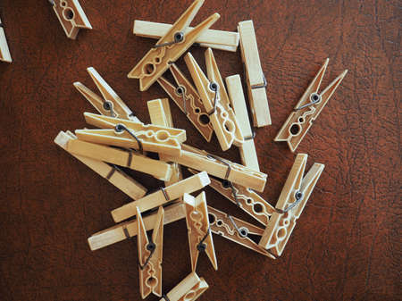 clothespin or clothes peg spring loaded wood clamp Stok Fotoğraf