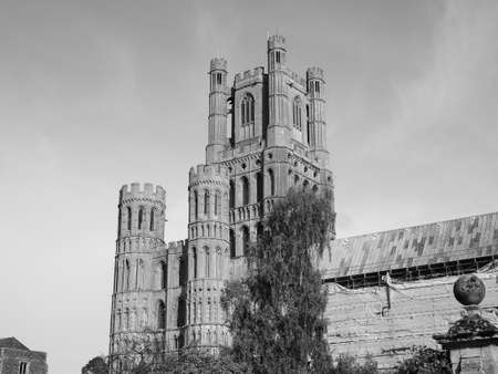 Ely Cathedral (formerly church of St Etheldreda and St Peter and Church of the Holy and Undivided Trinity) in Ely, UK in black and white Фото со стока