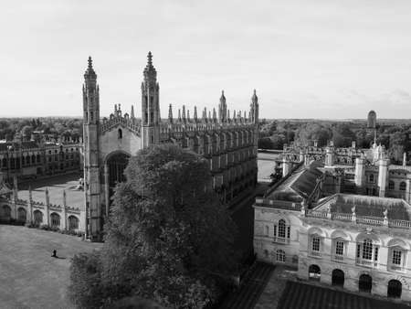 Aerial view of the city of Cambridge, UK in black and white