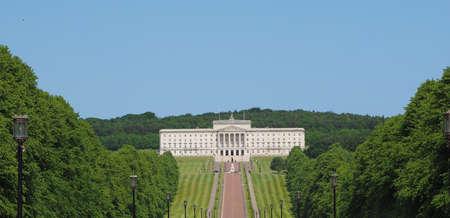 Vista aerea degli edifici del Parlamento (aka Stormont) a Belfast, UK Archivio Fotografico