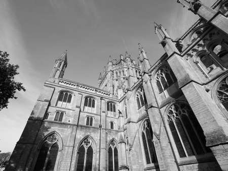 Ely Cathedral (formerly church of St Etheldreda and St Peter and Church of the Holy and Undivided Trinity) in Ely, UK in black and white Stock Photo
