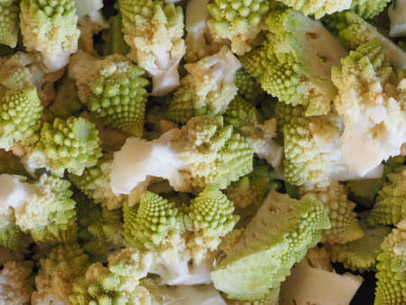 romanesco broccoli (Brassica oleracea) aka Romanesque cauliflower or Buzzy Broc vegetables vegetarian and vegan food