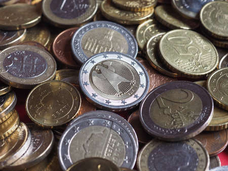 Euro coins money (EUR), currency of European Union 版權商用圖片