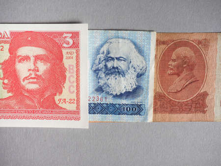 Vintage withdrawn banknotes of Soviet Union, German Democratic Republic and Cuba