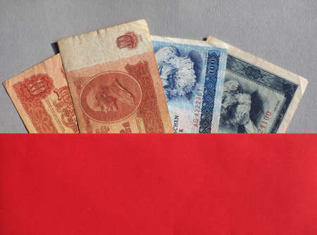 Vintage withdrawn banknotes of Soviet Union, German Democratic Republic 版權商用圖片 - 117627717